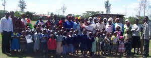 Nursery school schildren and their caregivers. Many are part of the women's group.
